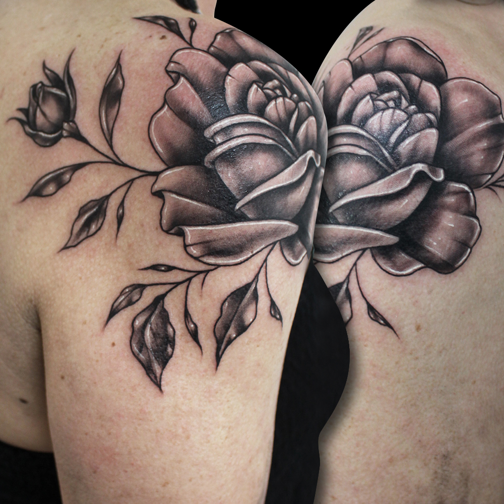 Freehand Flower Tattoo