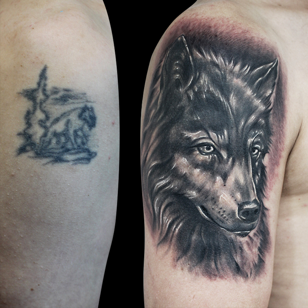 Wolf Coverup Tattoo